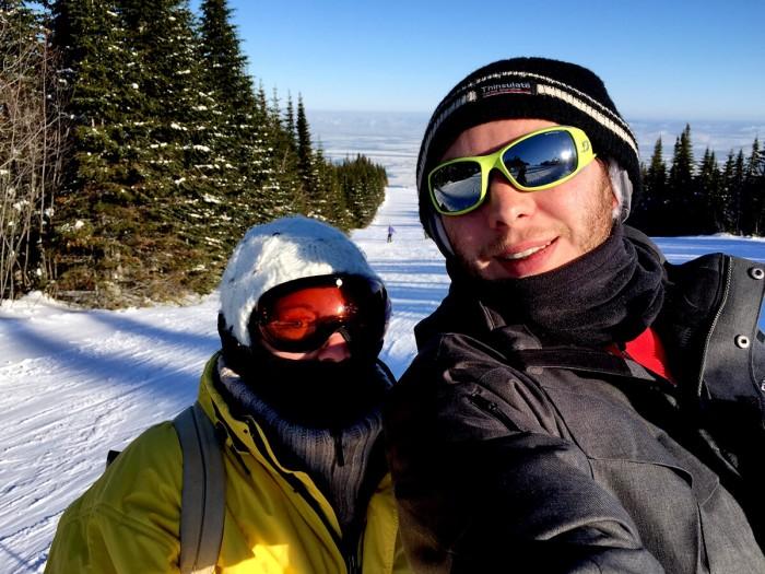 Selfie sur les pistes de ski.