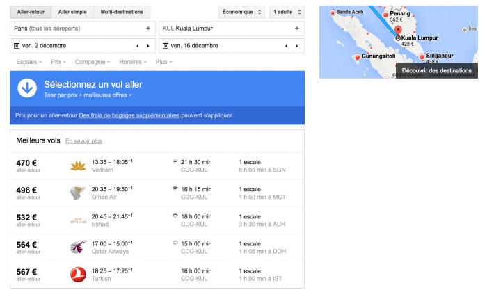 Voici à quoi ressemble l'interface de Google Flight