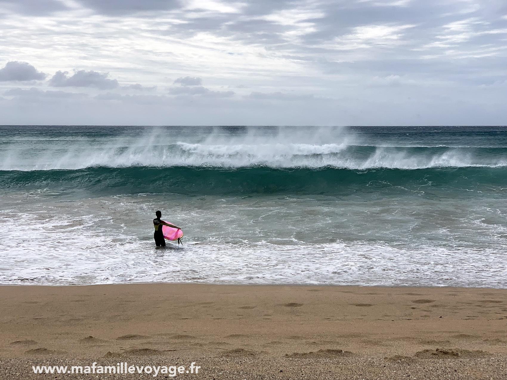 Avec des surfeurs